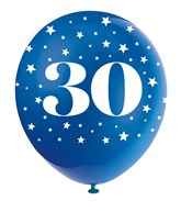 Pearlised Assorted Colour 30th Birthday Latex Balloons 5pk