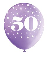 Pearlised Assorted Colour 50th Birthday Latex Balloons 5pk