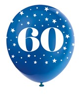 Pearlised Assorted Colour 60th Birthday Latex Balloons 5pk
