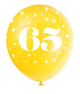 Pearlised Assorted Colour 65th Birthday Latex Balloons 5pk