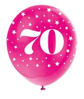 Pearlised Assorted Colour 70th Birthday Latex Balloons 5pk
