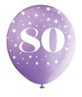 Pearlised Assorted Colour 80th Birthday Latex Balloons 5pk
