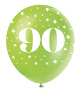 Pearlised Assorted Colour 90th Birthday Latex Balloons 5pk