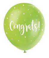 "Pearl Assorted Colour 12"" Congrats Latex Balloons 5pk"