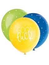 """Pearl Assorted Colour 12"""" Good Luck Latex Balloons 5pk"""