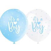 """Pearl Blue and White 12"""" It's A Boy Latex Balloons 5pk"""
