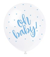 """Pearl White 12"""" Blue Oh Baby Latex Balloons 5pk"""