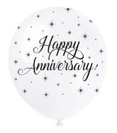 "Pearl White 12"" Happy Anniversary Latex Balloons 5pk"