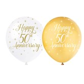 """Pearl White and Gold 12"""" 50th Anniversary Latex 5pk"""