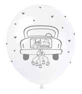 """Pearl White 12"""" Just Married Latex Balloons 5pk"""