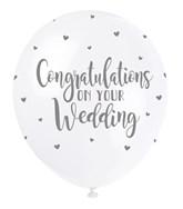 "Pearl White 12"" Wedding Congratulations Latex 5pk"