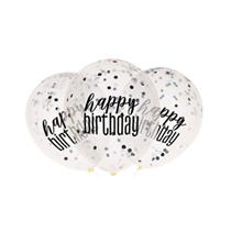 "Black Glitz Happy Birthday Confetti 12"" Latex Balloons 6pk"