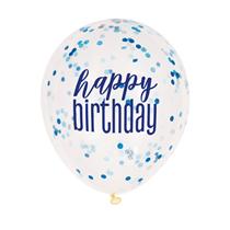 Glitz Happy Birthday Blue & White Confetti Balloons 6pk