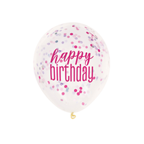 Glitz Happy Birthday Pink, Purple, Silver Confetti Balloons 6pk