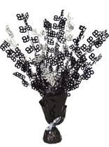 Black & Silver Age 65 Foil Balloon Weight Centrepiece