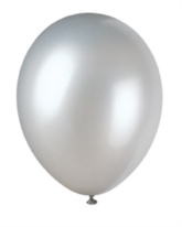 """12"""" Shimmering Silver Pearlized Latex Balloons - 50pk"""