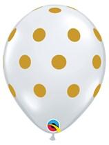 "Diamond Clear Gold Polka Dots 11"" Latex 25pk"