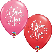 """I Love You Red & Rose 11"""" Latex Balloons 25pk"""