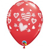 Valentine's Red Hearts & Arrows Latex Balloons 25pk