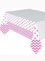 Bright Pink Chevron & Dots Plastic Tablecover