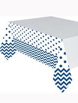 Bright Royal Blue Chevron & Dots Plastic Tablecover