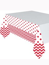 Apple Red Chevron & Dots Plastic Tablecover
