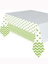 Green Chevron & Dots Plastic Tablecover