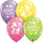"Easter Bunnies and Daisies 11"" Latex Balloons 25pk"