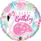 "Happy Birthday Pink Flamingo 18"" Foil Balloon"