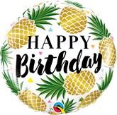 "Birthday Golden Pineapples 18"" Foil Balloon"