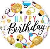 "Happy Birthday Glitter Dots 18"" Foil Balloon"