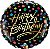 "Happy Birthday Gold Script 18"" Foil Balloon"