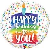 "Happy Birthday Rainbow Cake 18"" Foil Balloon"