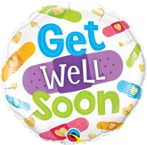 """Get Well Soon Bandages 18"""" Foil Balloon"""