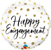 "Happy Engagement Gold Dots 18"" Foil Balloon"