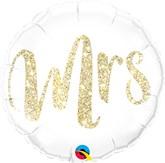 "Gold Glitter Mrs 18"" Foil Balloon"