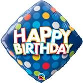"Happy Birthday Blue Dots 18"" Foil Balloon"