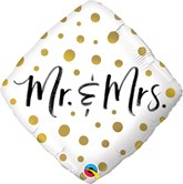 "Mr & Mrs Gold Dots 18"" Foil Balloon"