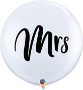 Wedding Mrs White 3ft Latex Balloons 2pk