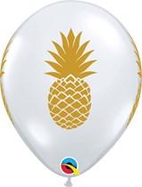 "Diamond Clear Golden Pineapple 11"" Latex Balloons 25pk"