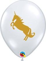 "Diamond Clear With Gold Unicorn 2-Sided 11"" Latex 25pk"