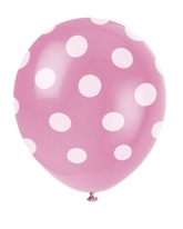 6 Decorative Dots Hot Pink Latex Balloons