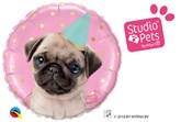 """Studio Pets Party Pug 18"""" Foil Balloon"""