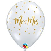 """Mr & Mrs Gold Dots Diamond Clear 11"""" Latex 25pk"""