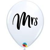 "Wedding Mrs 11"" White Latex Balloons 25pk"