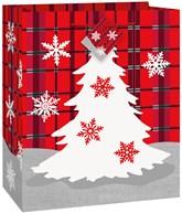 Christmas Tree Plaid Glossy Medium Gift Bag