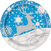 "Silver Snowflake Reindeer Christmas 9"" Plates 8pk"