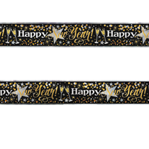 Happy New Year Black Gold Foil Banner