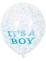 "It's a Boy Baby Shower 12"" Latex Confetti Balloons 6pk"