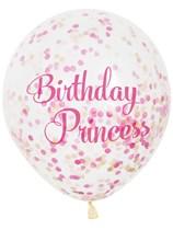 Birthday Princess Latex Confetti Balloons 6pk